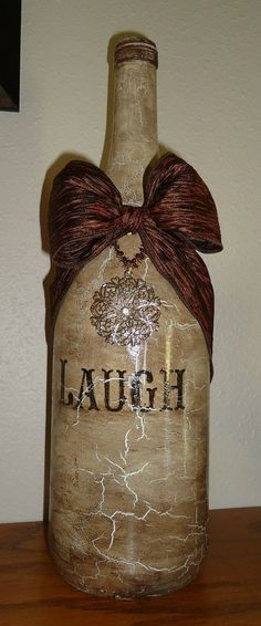 decoupage wine bottles | My new decorated wine bottle by Unique by Angie!!!! ... | Altered Bot ...♡ #decoratedwinebottles #recycledwinebottles