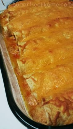Low Carb Chicken Enchiladas + I added 1/2 a block of cream cheese, 4 oz green chilies, cheddar cheese and sour cream to the chicken, then layered the tortillas(due to the small size) w extra enchilada sauce. It turned out really good!