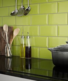 Metro Lime Green Kitchen Wall Tiles - Pair with http://www ...