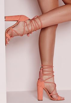 Missguided - Lace Up Tassel Block Heel Sandals Pink