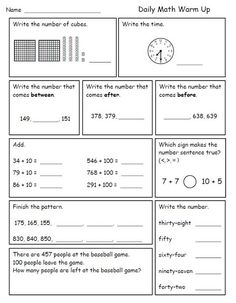 Printables 2nd Grade Math Review Worksheets math second grade and mornings on pinterest i like to give my graders daily review worksheets for morning work while take attendance lunch count th