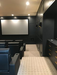 Home Theater Basement, Basement Movie Room, Home Theater Room Design, Home Cinema Room, At Home Movie Theater, Basement Bars, Theatre Design, Media Room Design, Dream House Interior