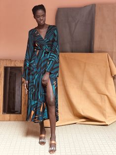 Wrap Dress - Baol Teal – diarrablu Bell Sleeves, Wrap Dress, Teal, Clothing, Accessories, Dresses, Atelier, Outfits, Vestidos