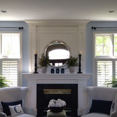 Plantation shutters beside my fireplace.definitely will be doing this.and hopefully a nicer mantle. White Fireplace, Fireplace Mantle, Living Room With Fireplace, Fireplace Design, Living Room Decor, Fireplace Decorations, Fireplace Ideas, Fireplace Surrounds, Cafe Shutters