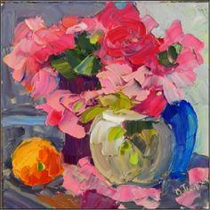 Last of the Peonies , 8x8, oil on board, peonies, orange, pink blooms, impasto, palette knife floral, painting by artist Maryanne Jacobsen