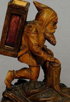antique black forest carved wood dwarf matchbox holder