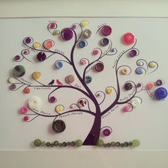 Family Tree Painting On Canvas Diy Button Art Ideas Family Tree Pain Family Tree For Kids, Trees For Kids, Family Tree Art, Button Tree Art, Button Art On Canvas, Diy Canvas, Crafts For Seniors, Diy Buttons, Tree Wall Art