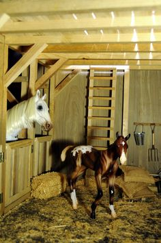 Breyer Foal and an ASMUS Horse. Photographed in the Regent Horse-1/6 scale Barn by Ken Haseltine (http://regentminiatures.com).