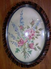 "Vintage Needlepoint  In Convex, Bubble Glass Vintage Picture Frame 23""x17"""