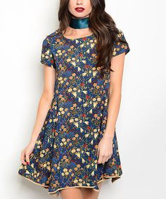 Another great find on #zulily! Blue & Yellow Floral Handkerchief Dress #zulilyfinds