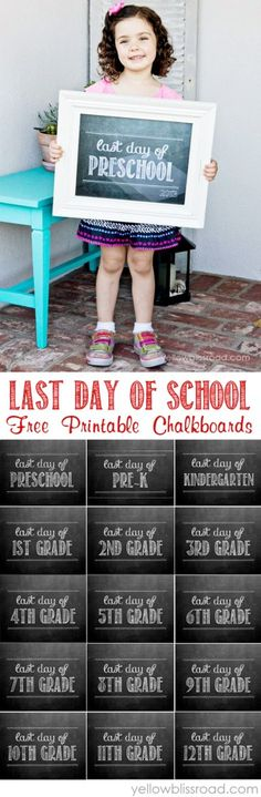 Printable Last Day of School Chalkboards Free Printables for the Last Day of School - Preschool & Pre-K through High School!Free Printables for the Last Day of School - Preschool & Pre-K through High School! End Of School Year, School Daze, School Fun, Back To School, High School, School Ideas, School Projects, School Stuff, Pre K Graduation