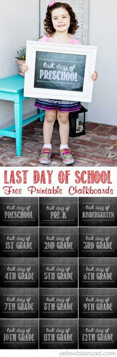 Free Printables for the Last Day of School - Preschool & Pre-K through High School!