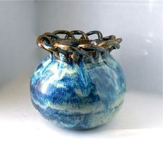 Blue Brown Vase Hand Thrown Pottery by earthypurl on Etsy, $42.00