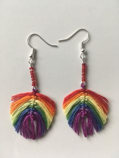 Diy rainbow macrame feather earring / Macrame leaf earring / Statement earring / Unique gifts by ByDashka on Etsy