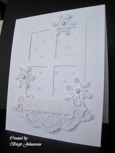 Cards R Fun: It became a Winter Card ... Another great use of the Madison Window die on this gorgeous monochromatic Christmas card.