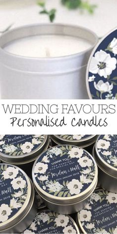 Navy blue and white floral wreath personalised wedding favours / bomboniere. Soy candle tins design by Mahina. #wedding #favours #gifts #affiliate #whiteweddingcandles