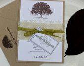 Vintage Style Engraved Botanical Oak Tree Natural Wedding Invitation Suite SAMPLE by Lemon Square Designs. $4.00, via Etsy.