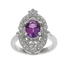 Get this Cocktail Ring for 60% OFF. Order the Sterling Silver Amethyst  1/10-ct. T.W. Diamond Ring today. #amethyst #cocktailring #onlinesale #sale