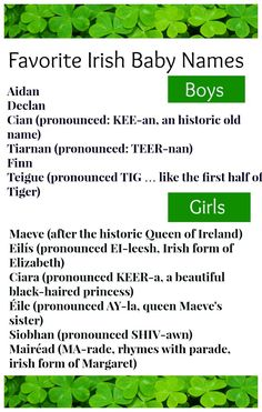 Favorite Irish Baby names. I'm personally smitten with Siobhan.