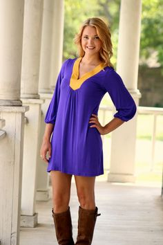 End Zone Gameday Dress - Purple and Gold