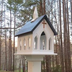 Feed the birds in style! Church Bird Feeder is Vinyl/PVC with Copper Cross on front and back.