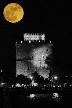 Full moon over Thessaloniki Thessaloniki, Full Moon, Greece, Celestial, Places, Nature, Outdoor, Harvest Moon, Greece Country