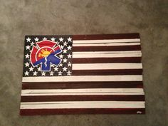 Custom USA flag with a fire fighter symbol. #wood #art #pallet #USA   Custom, hand painted art. If interested, email jfrance2@gmail.com