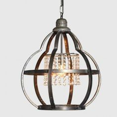 Our Metal Cage Pendant Light With Crystals is a unique hanging light for your foyer or dining room. Visit Antique Farmhouse for more classy chandeliers! Orb Pendant Light, Crystal Pendant Lighting, Chandelier Pendant Lights, Globe Pendant, Chandeliers, Industrial Chandelier, Mini Pendant, Antique Farmhouse, Farmhouse Ideas