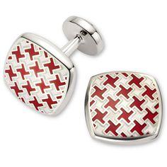 Red cushion puppytooth enamel cuff links | Men's cuff links from Charles Tyrwhitt | CTShirts.com