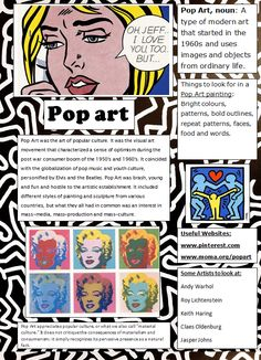 Pop Art Poster designed for students as a quick reference and introduction. Since we're doing pop art in our mock Art History Timeline, Art History Memes, Art History Lessons, History Major, Pop Art History, History Projects, Programme D'art, Classe D'art, Art Handouts