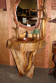 Rustic I would love this in a master bath...