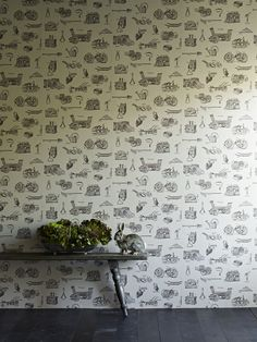 Linwood Fabrics and Wallpaper 'Tooled Up' wallpaper from the 'Emphera' range. Saw this in Gardens Illustrated and fell in love.