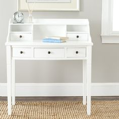 @Overstock.com - Safavieh Landon White Writing Desk - Remember the old-fashioned dark mahogany roll top desk with all its storage cubbies with this Safavieh Landon Writing Desk in white finish. Perfect in home office, bedroom or even in the kitchen as a kids' homework station. http://www.overstock.com/Home-Garden/Safavieh-Landon-White-Writing-Desk/7388169/product.html?CID=214117 $227.89