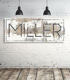 Modern Last Name Sign - Personalized Family Name Wall Art - Modern Farmhouse Wall Art - Est Name Sign - Wedding Gift #farmhousedecor #homedecorideas