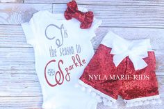 Baby Christmas Outfit red sequin shorts sequin by NylaMarieKids