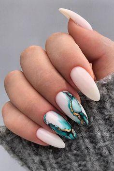 Nail - 30 Wow Wedding Nail Ideas ❤ nail ideas wedding white nails with marble blue pa. - - 30 Wow Wedding Nail Ideas ❤ nail ideas wedding white nails with marble blue paint and gold nailartist_natal Summer Acrylic Nails, Best Acrylic Nails, Spring Nails, Acrylic Nail Designs For Summer, Painted Acrylic Nails, Acrylic Nail Designs Glitter, Colored Acrylic Nails, Winter Nail Designs, Nagellack Design