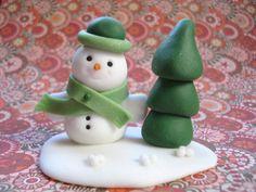 Snowman Christmas Figurine - Christmas Snowman - Christmas Decor - Christmas miniature - Handmade Snowman Figurine - Polymer Clay Snowman