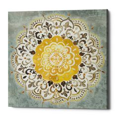 """Trademark Fine Art Danhui Nai """"Mandala Delight Iv Yellow Grey"""" Canvas Art at Lowe's. This ready to hang, gallery-wrapped art piece features a grey and gold mandala on a blue-grey background. Giclee (jee-clay) is an advanced printmaking Grey Canvas Art, Abstract Canvas, Abstract Print, Canvas Wall Art, Canvas Prints, William Ellis, Graffiti, Painting Prints, Watercolor Paintings"""