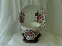 Vintage Pink Rose with Lavender Flowers by OurBarefootCottage.etsy.com