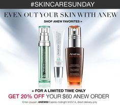 Avon Coupon Code: ANEW60 - save 20% on your online Anew order of $60 or more! http://eseagren.avonrepresentative.com #skincare #skincaresunday #avon