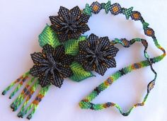 Mexican Huichol Beaded Black Flowers Necklace by Aramara on Etsy