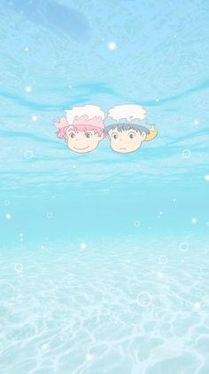 Sasuke and Ponyo Cute Anime Wallpaper, Wallpaper Iphone Cute, Cartoon Wallpaper, Studio Ghibli Art, Studio Ghibli Movies, Animes Wallpapers, Cute Wallpapers, Totoro, Studio Ghibli Background