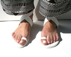 Ariadne Sandals,Simple chic sandals,total white toe ring, x strap ankle sandals,Greek Handmade sandals,Greek leather,Ancient Greek style White Toes, Toe Rings, Ancient Greek, Handmade Leather, Leather Sandals, Ankle, Chic, Simple, Shoes