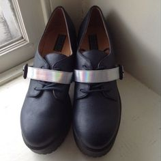 "Deena & Ozzy Holographic Strap Platform Oxfords Brand new, never worn. Bought them from Poshmark but they do not fit me correctly. 1.5"" platform 3"" heel. Color is dark blue but looks black to the naked eye. Deena & Ozzy Shoes Flats & Loafers"