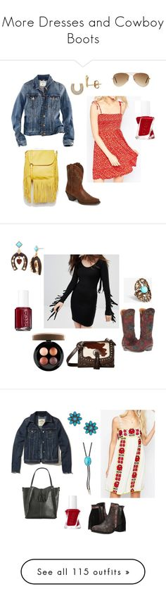 """""""More Dresses and Cowboy Boots"""" by gracie-hannah ❤ liked on Polyvore featuring Urban Originals, H&M, ASOS, Ariat, Lord & Taylor, Ray-Ban, Religion Clothing, Old Gringo, Express and Essie"""