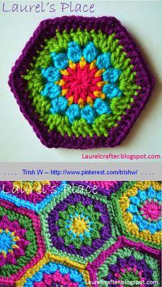 Grandma's Knickknacks, free hexagon pattern from Laurel's Place   . . . . ღTrish W ~ https://www.pinterest.com/trishw/crochet-iii-~-motifs-misc-patterns/ . . . .  #crochet