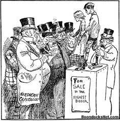 Child labor in the industrial era was much like slavery was before the civil war. The cartoon depicts children being sold similarly to how slaves were sold in the south. Images like this one showed the cruel treatment children were put under and helped to gain support in child labor laws.