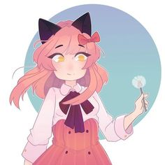 She looks like she wants to eat it though rather than wish for anything. I wonder what she'd wish for. She wasn't originally holding a dandelion but I've had yet I can't stay on repeat for the past few days. Zane And Kawaii Chan, Zane Chan, Anime Neko, Kawaii Anime, Kawaii Art, Aphmau Kawaii Chan, Aphmau My Street, Aphmau Characters, Aphmau And Aaron