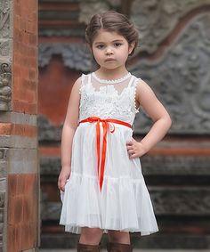 Another great find on #zulily! White Floral & Red-Orange Bow Dress - Toddler & Girls #zulilyfinds