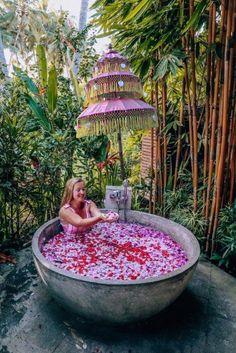 Dreamy affordable hotels in Bali - World Wanderista Affordable Hotels, Best Hotels, Amazing Gardens, Beautiful Gardens, Garden Parasols, Umbrellas Parasols, Outdoor Bathrooms, Outdoor Garden Furniture, Vacation Spots
